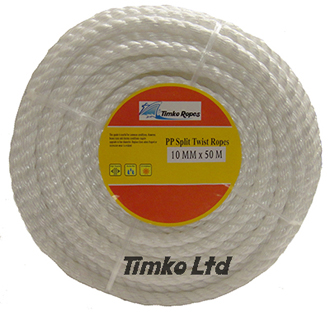 Polypropylene rope - 10mm Dia White x 50m Mini Coil