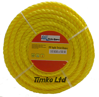 Polypropylene rope - 10mm Dia Yellow x 50m Mini Coil