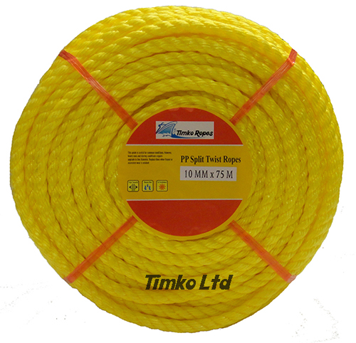 Polypropylene rope - 10mm Dia Yellow x 75m Mini Coil