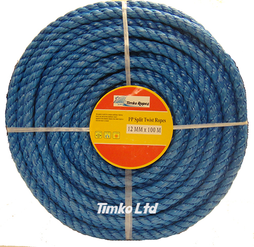 Polypropylene rope - 12mm Dia Blue x 100m Mini Coil