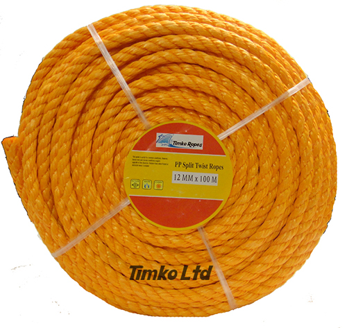 Polypropylene rope - 12mm Dia Orange x 100m Mini Coil