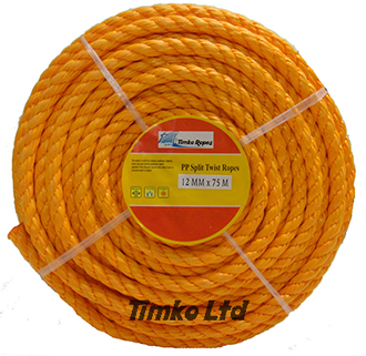 Polypropylene rope - 12mm Dia Orange x 75m Mini Coil