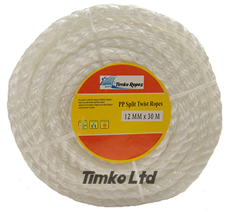 Polypropylene rope - 12mm Dia White x 30m Mini Coil