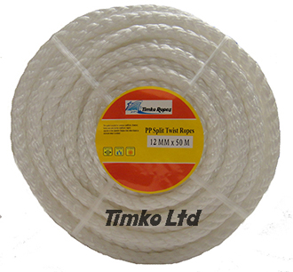Polypropylene rope - 12mm Dia White x 50m Mini Coil