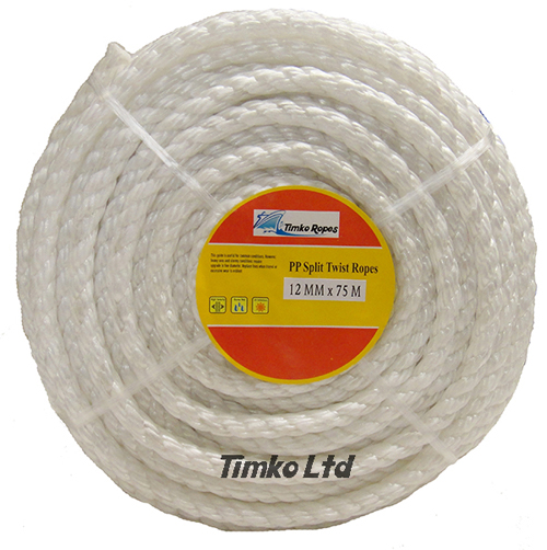 Polypropylene rope - 12mm Dia White x 75m Mini Coil