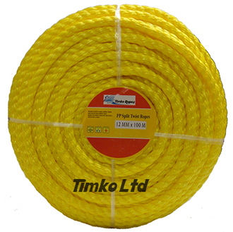 Polypropylene rope - 12mm Dia Yellow x 100m Mini Coil