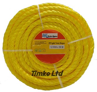 Polypropylene rope - 12mm Dia Yellow x 50m Mini Coil