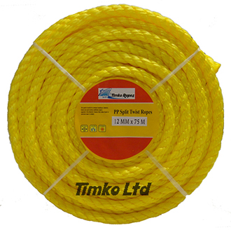 Polypropylene rope - 12mm Dia Yellow x 75m Mini Coil