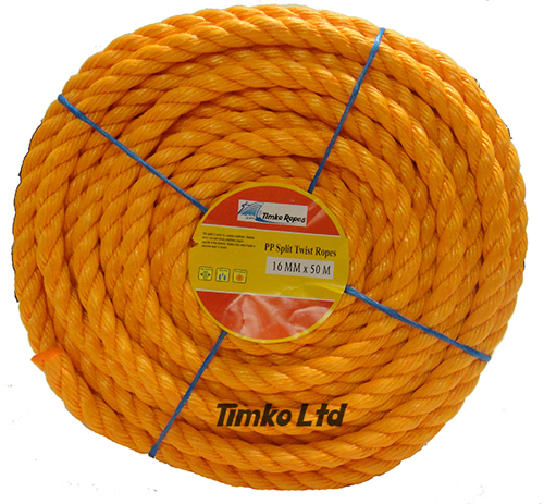 Polypropylene rope - 16mm Dia Orange x 50m Mini Coil