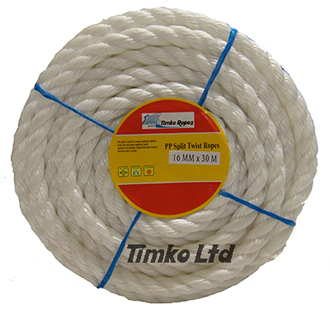 Polypropylene rope - 16mm Dia White x 30m Mini Coil
