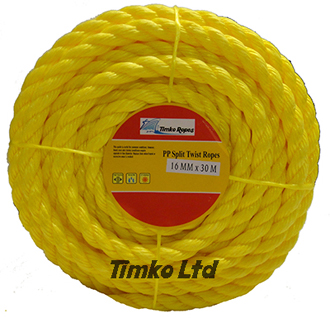 Polypropylene rope - 16mm Dia Yellow x 30m Mini Coil
