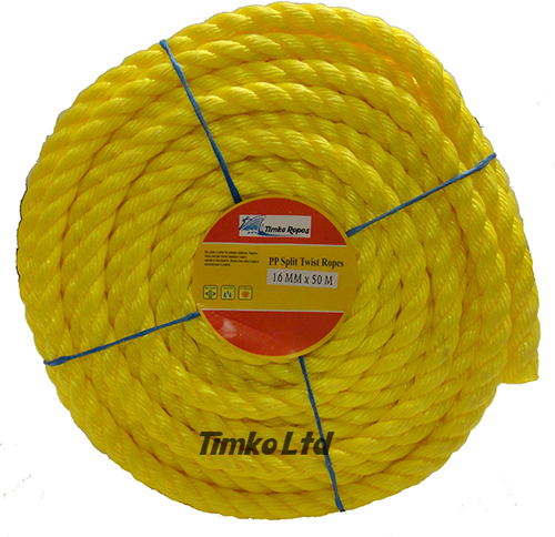Polypropylene rope - 16mm Dia Yellow x 50m Mini Coil