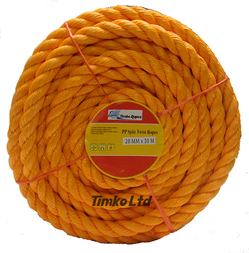Polypropylene rope - 20mm Dia Orange x 30m Mini Coil
