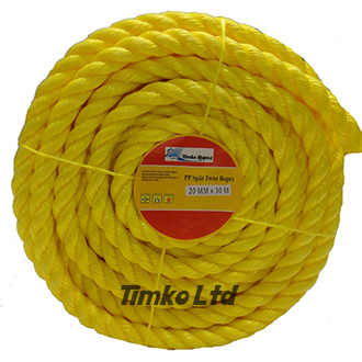 Polypropylene rope - 20mm Dia Yellow x 30m Mini Coil