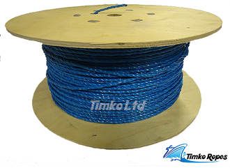 8mm Blue Polypropylene x 500m Wooden Drum Drawcord Rope