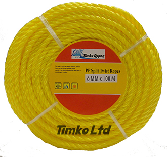 Polypropylene rope - 6mm Dia Yellow x 100m Mini Coil