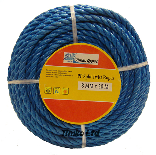 Polypropylene rope - 8mm Dia Blue x 50m Mini Coil