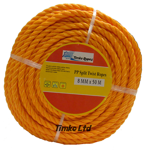 Polypropylene rope - 8mm Dia Orange x 50m Mini Coil