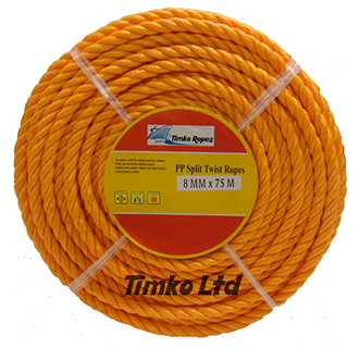 Polypropylene rope - 8mm Dia Orange x 75m Mini Coil