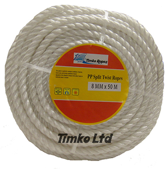 Polypropylene rope - 8mm Dia White x 50m Mini Coil