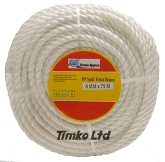 Polypropylene rope - 8mm Dia White x 75m Mini Coil