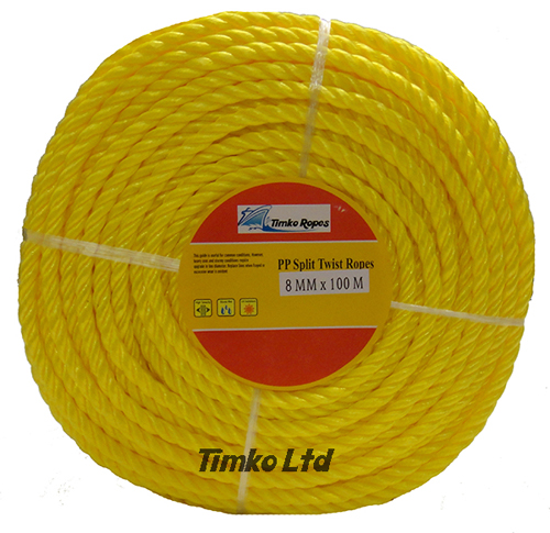 Polypropylene rope - 8mm Dia Yellow x 100m Mini Coil