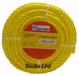 Polypropylene rope - 8mm Dia Yellow x 50m Mini Coil