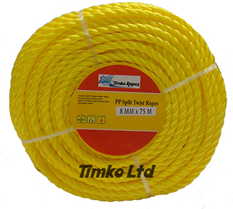 Polypropylene rope - 8mm Dia Yellow x 75m Mini Coil