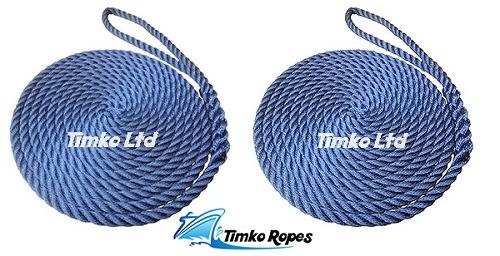Pair Of 12mm Navy Blue Boat Mooring Ropes x 12mtrs