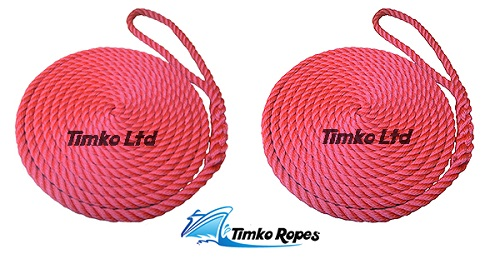 Pair Of 14mm Red Boat Mooring Ropes x 8mtrs