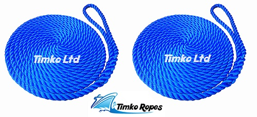 Pair Of 14mm Royal Blue Boat Mooring Ropes x 10mtrs