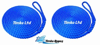 Pair Of 12mm Royal Blue Boat Mooring Ropes x 10mtrs