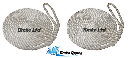 Pair Of 16mm White Boat Mooring Ropes x 12mtrs
