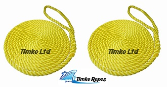 Pair Of 12mm Yellow Boat Mooring Ropes x 8mtrs